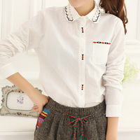 Bb5-4 autumn 2013 women's embroidered turn-down collar long-sleeve shirt