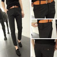 Male woolen trousers slim woolen casual pants dark gray