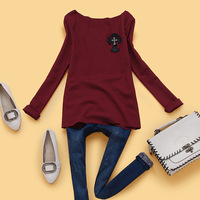 Ab4-2 autumn 2013 women's cross o-neck embroidered patchwork long-sleeve T-shirt women's basic shirt