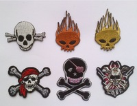 PUNK SKULL iron on patches combination Pirate Embroidered patch Motif Cartoon Applique, GHOST Cloth Embroidered 16pcs/lot