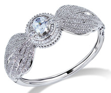 Remarkable 2013 Design Jewelry Women Round Shape bangle Grade Zirconia Crystal Prong Setting Nickel Plated Propose