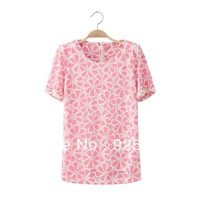 Freeshipping Glass Pearl Sleeves Flower Print O Neck Zipper Back Elegant Women Casual Basic Tops Summer T-Shirt Short Sleeves