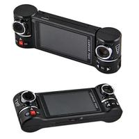 Free shipping F600 2 CH IR night vision motion detection HD 720P dual lens 360 degree rotation car dvr
