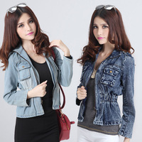2013 autumn denim outerwear female long-sleeve slim jacket denim top