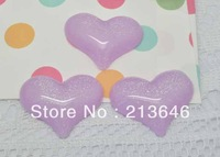 Free Shipping 40pcs/lot Purple Bling Heart Love Flatback Cabochon Fit DIY Phone Decoration 32x25mm