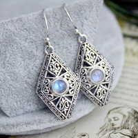 925 handmade silver inlaying natural blue moonstone earrings earring