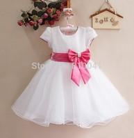 Baby Girls' Flower Girl Dress Sequin Party Dress For Children White Big Bow Kids Flower Dresses Child Dresses For Wedding