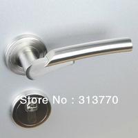 85mm Free shipping  2pcs handles with lock body+keys 304 stainless steel door handle room interior door lock