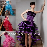 Lovely Short Front Long Back Strapless A-line Party Prom Dresses Sleeveless Hi Low Black Lace Evening Formal Gowns