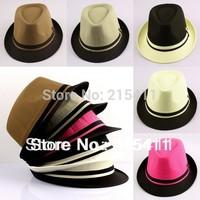 Fashion Men's Plain Casual Dress Fedora Cuban Style Upturn Short Brim Cap Hat Solid Color