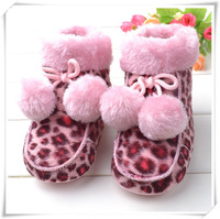 retail snow boot for baby kids pink leopard boots fake fleece baby winter warm boot 1pair free shipping