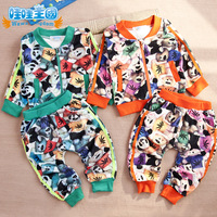 2013 children's clothing sports set female child velvet baby set