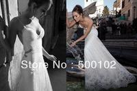 Glamorous Mermaid Style Spaghetti Strap Beaded Pearls Backless Lace Wedding Dresses