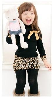 QZ-312  Free shipping 2014 Baby Girls Black & Leopard Bow Ruffles Dresses Kids Pageant Clothing Children Autumn Dresses Retail