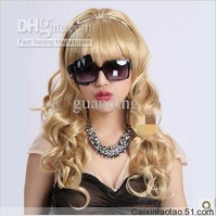 2013Wholesale - NEW-Fashion Stylish long blonde curl women's human made hair wigs