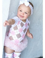 2014 free shipping Retail 1 pcs Top Quality!baby girl cotton climb clothing romper infant plaid jumpsuit in stock