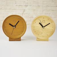 fashion brief oak solid wood small round clock novelty mute desk alarm clocks free shipping