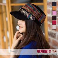 Autumn and winter fashion women's stripe cap strap decoration military hat casual