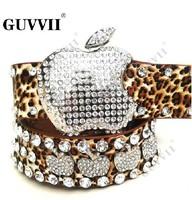 free shipping 2013 new style apple luxurious crystal belt fashion leopard print lady belt women belt genuine leather belts