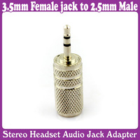 5 pcs/Lot_3.5mm Female jack to 2.5mm Male Plug Audio Adapter Converter Silver
