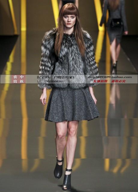 2013 Full Silver Fox Fur Coat OEM Wholesale/Retail(China (Mainland))