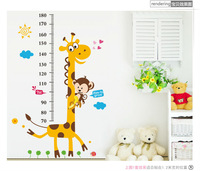 Children GROWTH Height CHART DECALS Giraffe Monkey Wall Stickers Kids Teens Bedroom Playroom Dorm Decor Nursery Room Vinyl Art