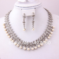 New Design Hot Sale Silver Plated Elegant Party Pearl Necklace Set Charming Imitation Pearl Bridal Wedding Jewelry Sets