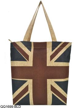 Free Shipping 2014 High Quality Linen Tote Bags Women Handbags Vintage Eiffel Tower/Union Jack/America Flag Shopper Bag QQ1699