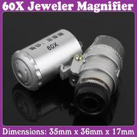 2 pcs/Lot_Mini 60X Jeweler Loupe Magnifier Microscope with LED Light