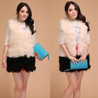 2013 ostracods wool fur coat three quarter sleeve women's vest long design vest