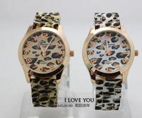 Causal Brand Geneva Leopard Watch Unisex quartz watch fashion men Wristwatches for women gold color dress watch XWT003