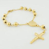 22.5cm*8mm beads rosary Bracelet For men,14k gold cross Catholic church Stainless steel 316l jewelry,Retail+Wholesale,VRN20