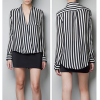 S M L Hot Women's Fashion V Neck T-Shirts OL Style Long Sleeve Stripes Top Blouse  Free Shipping