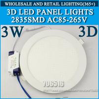 Wholesale 20PCS 3D New High brightness LED Panel Lights ceiling lighting 3W 2835SMD Cold white/warm white AC85-265v