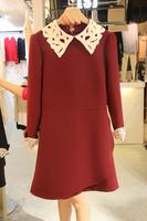 2013 autumn women's lace one-piece dress long-sleeve woolen basic short skirt