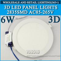 Wholesale 40PCS 3D New High brightness LED Panel Lights ceiling lighting 6W 2835SMD Cold white/warm white AC85-265v