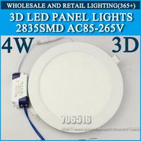 Wholesale 20PCS 3D New High brightness LED Panel Lights ceiling lighting 4W 2835SMD Cold white/warm white AC85-265v