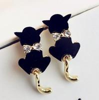 18K gold plated Rhinestone cat earrings for women 2014 new fashion big earring jewelry wholesale