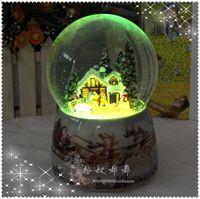 Sound control colorful lights christmas crystal ball music box automatic revolving christmas gift