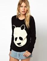 IMIXBOX 2015 sweater women sweaters women fashion Women O-neck Panda Sweater Knitted Wear Knitting Pullovers W4235