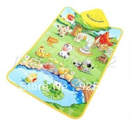 Free Shipping Kids Baby Farm Animal Music Touch Play Playing Gym Carpet Mat Toy Mats Tap Edu cationalBlanket