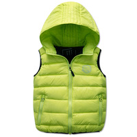 Children's clothing kid's down  vest hodded for autumn and winter female