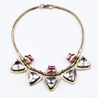 free shipping 2013 new design fashion vintage necklace punk trangle crystal pendant necklace length 50cm