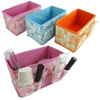 Organizer Case Fo3 pcs/lot 5 colors available Fabric Folding Cosmetics Storage Box Desktop r Jewelry Toys