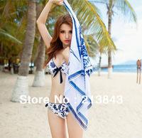 3Pcs/Set High Quality Noble and Elegant Blue and White Porcelain/Ceramics PushUp Bikini Set Beach Cover Up Dress Swimsuit Padded
