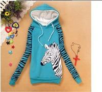big zebra printed hoodie fleece inside warm sweatshirts women long sleeve 4 color hoody cotton hoodies free shipping