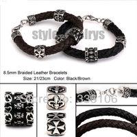 Free shipping! Christmas Gift Motor Chrome Cross Heart Genuine Leather Bracelet Stainless Steel Bracelet SJB0135