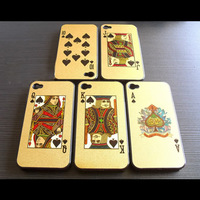 Wholesale Poker hard Case for iphone 4 4S back cover bling playing cards, king queen joker , 5 Styles