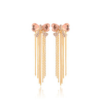 Earrings female crystal full rhinestone bow tassel long design stud earring accessories