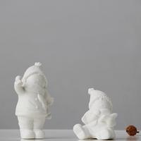 Modern brief american christmas doll ceramic small decoration cartoon figure decoration